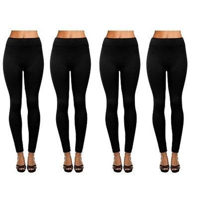 4-Pack Women's Fleece Lined Full Length Leggings Black - One Size