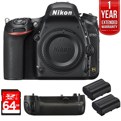D750 DSLR 24.3MP HD 1080p FX-Format Digital Camera 64 GB Bundle