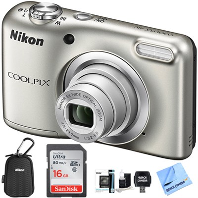 COOLPIX A10 16.1MP 5x Zoom Lens Digital Camera - Silver 16GB Bundle Refurbished