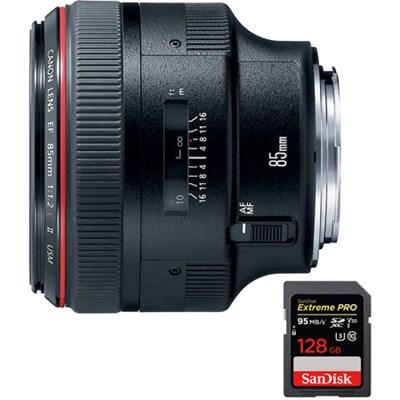 EF 85mm F/1.2L II USM Telephoto Lens with SDXC 128GB UHS-1 Memory Card