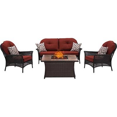 San Marino 4-Piece Fire Pit Lounge Set in Crimson Red - SMAR4PCFP-RED-TN