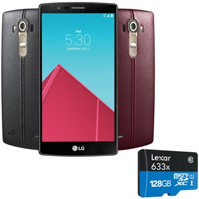 G4 Smartphone 32GB Unlocked GSM (US991) w Leather Back Cover &128GB microSD Card