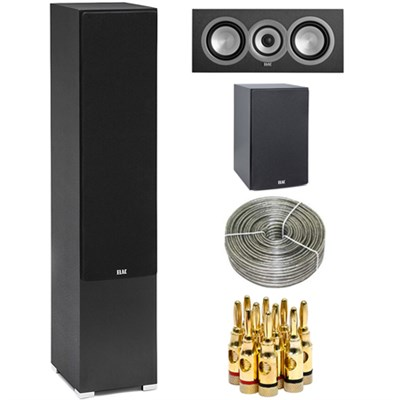 DF51-BK Debut F5 5 1/4` Freestanding Floor Speaker w/ Center Speaker Bundle