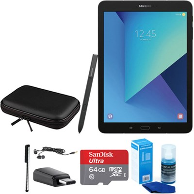 Galaxy Tab S3 9.7 Inch Tablet with S Pen - Black - 64GB Accessory Bundle