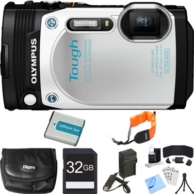 TG-870 Waterproof 16MP White Digital Camera 32GB SDHC Memory Card Deluxe Bundle