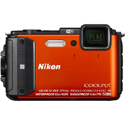 COOLPIX AW130 16MP Waterproof Digital Camera w/ Wi-Fi (Orange) Refurbished