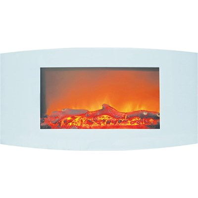35  Curved Wall Mount Electric Fireplace with Logs