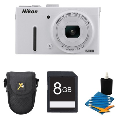 COOLPIX P330 White Digital Camera 8GB Bundle
