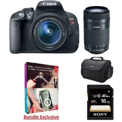 EOS Rebel T5i 18MP Digital SLR with 18-55mm and 55-250mm IS STM Lenses Bundle