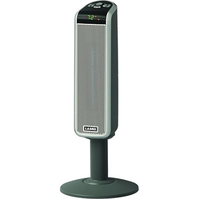 30` Digital Space-Saving Ceramic Pedestal Heater with Digital Remote