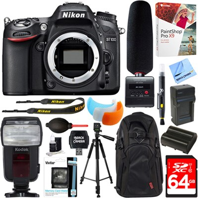 D7100 HD DSLR Camera Body + Tascam DR-10SG Recorder & Microphone 64GB Kit