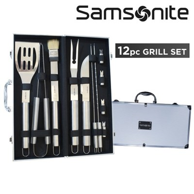 12 Piece BBQ Deluxe Stainless Steel Grill Set with Aluminum Storage - OPEN BOX