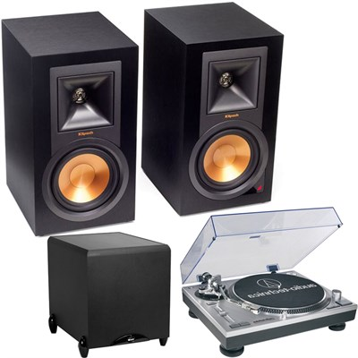 Klipsch R15PM Powered Monitor Speakers, Subwoofer & Turntable