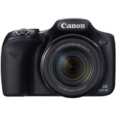 SX520 HS 16MP 42x Opt Zoom 1080p Full HD Digital Camera - Black