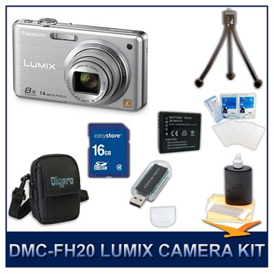 DMC-FH20S LUMIX 14.1 MP Digital Camera (Silver), 16GB SD Card, and Camera Case
