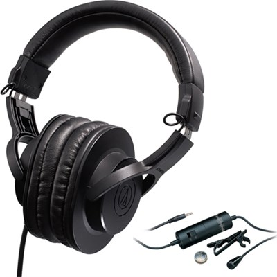 Professional Monitor Headphones ATH-M20X with Audio Technica Clip On Microphone