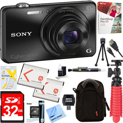 DSC-WX220 Compact Digital Camera (Black) + 32GB Dual Battery & Accessory Bundle