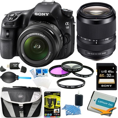 Alpha SLT-A58K 20.1 MP DSLR Kit w/ 18-55mm Lens and 18-135 Lens Accessory Bundle