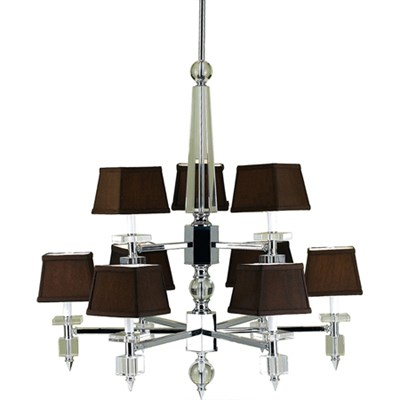Cluny 9 Light Chandelier with Poly Silk Shade - 6760-9H