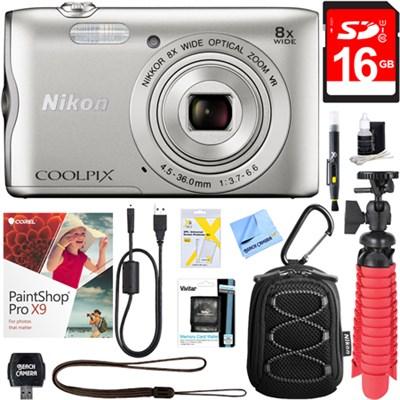 Coolpix A300 20.1MP Digital Camera (Silver) + 16GB Deluxe Accessory Bundle