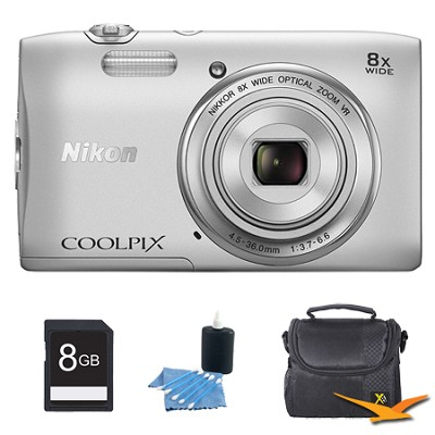 COOLPIX S3600 20.1MP 2.7` LCD Digital Camera with 720p HD Video Silver Kit