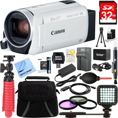 VIXIA HF R800 Full HD White Camcorder + 32GB Card and Accessory Bundle