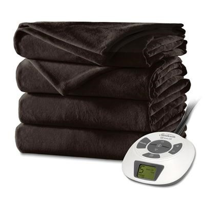 Velvet Plush Heated Blanket Twin in Walnut - BSV9GTS-R470-12A44