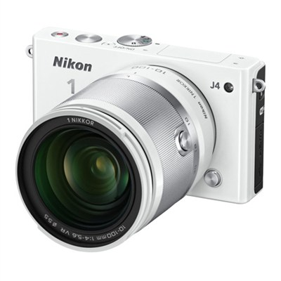 1 J4 Mirrorless 18.4MP Digital Camera with 10-100mm Lens (White) - OPEN BOX