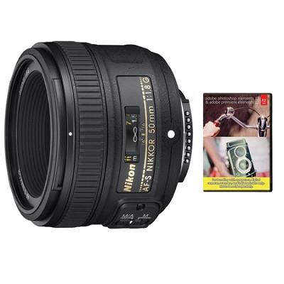50mm f/1.8G AF-S NIKKOR Lens for Nikon DSLR Cameras With Adobe Elements Bundle