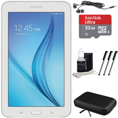 Galaxy Tab E Lite 7.0` 8GB (Wi-Fi) White 32GB microSD Card Bundle