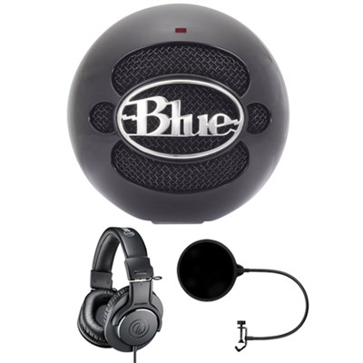 Snowball USB Microphone Gloss Black - SNOWBALLGLOSSBLACK w/ Headphone Bundle