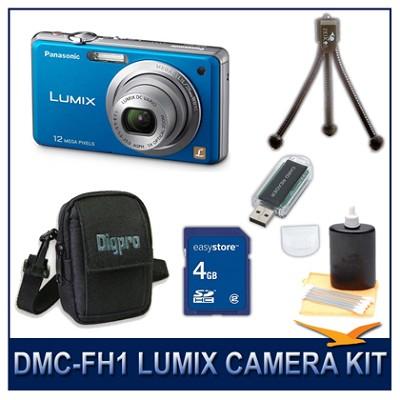 DMC-FH1A LUMIX 12.1 MP Digital Camera (Blue), 4G SD Card, Card Reader & Case