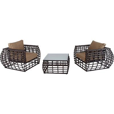 Hanover Soho 3-Piece Rattan Seating Set: 2 Chairs 1 Glass Coffee Table