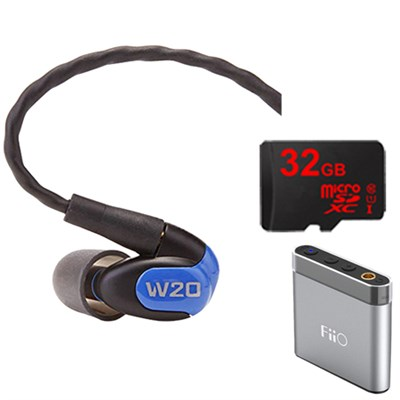 W20 Dual Driver Noise Isolating Earphones In-Ear Monitors - 78502 w/ FiiO A1 Amp