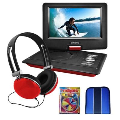 EPD116RD 10` Portable Swivel Screen DVD Player w/ Headphones & Car Mount Bundle