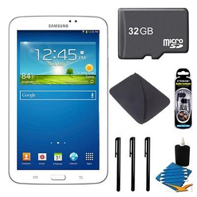 Samsung Galaxy Tab 3 (7-Inch, White) + 32GB Micro SD Card + More
