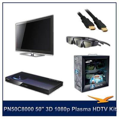 PN50C8000 - 50` 3D 1080p Plasma HDTV Kit w/ 4 3D Glasses and Blu-Ray Player