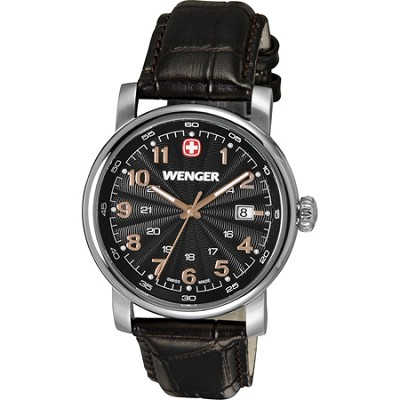 Men's Urban Classic Swiss Army Watch - Black Textured Dial/Brown Leather Strap