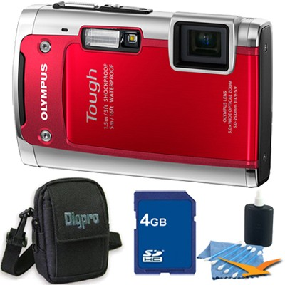 Tough TG-610 14MP Water/Shock/Freezeproof Digital Camera Red 4GB Kit