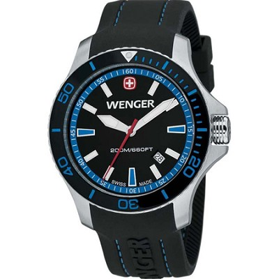 Men's Sea Force Swiss Watch - Black and Blue Dial/Black Silicone Bracelet
