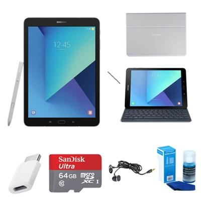 Galaxy Tab S3 9.7 Inch Tablet w/ S Pen - Silver - Keyboad Cover Accessory Bundle