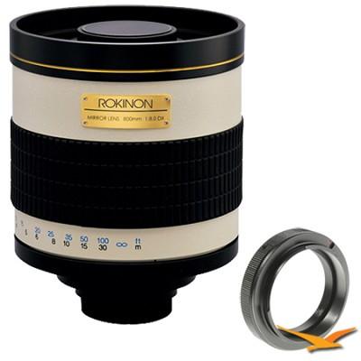 800mm F8.0 Mirror Lens for Sony Alpha / Minolta. (White Body) - 800M
