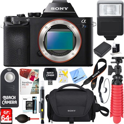 Alpha a7S Full Frame Mirrorless Camera Body + 64GB Memory & Flash Bundle