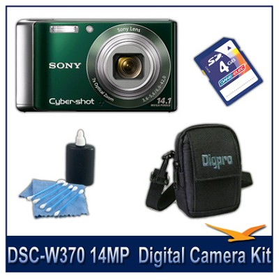 Cyber-shot DSC-W370 14MP Green Digital Camera   with 4GB Card, Case, and More