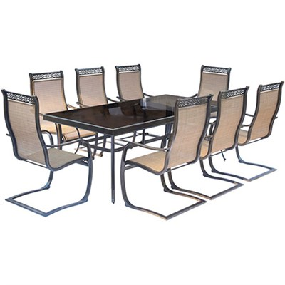 Monaco 9PC Dining Set:8 Spring Sling Chairs and 42 x84  Glass Tbl