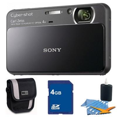 Cyber-shot DSC-T110 Black Touchscreen Digital Camera 4GB Bundle