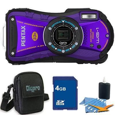 Optio WG-1 Waterproof Digital Camera - Purple 4 GB Bundle