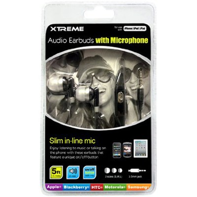 Audio Earbuds with Microphone White