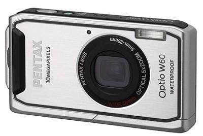 Optio W60 Waterproof 10MP Digital Camera w/ 5X Optical Zoom (Silver)