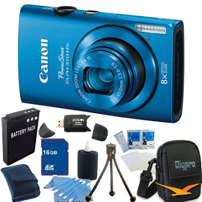 PowerShot ELPH 310 HS 12MP Blue Digital Camera 16GB Bundle